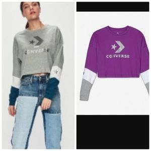 CONVERSE  WOMEN'S CROPPED LONG SLEEVE PURPLE SZS
